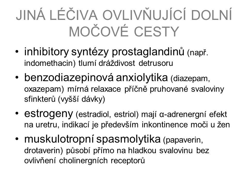 JINÁ LÉČIVA OVLIVŇUJÍCÍ DOLNÍ MOČOVÉ CESTY inhibitory syntézy prostaglandinů (např.