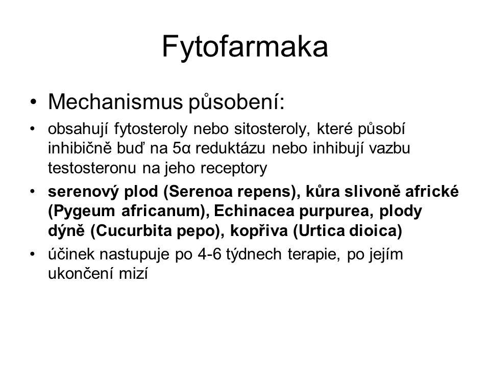 Fytofarmaka Mechanismus působení: obsahují fytosteroly nebo sitosteroly, které působí inhibičně buď na 5α reduktázu nebo inhibují vazbu testosteronu na jeho receptory serenový plod (Serenoa repens), kůra slivoně africké (Pygeum africanum), Echinacea purpurea, plody dýně (Cucurbita pepo), kopřiva (Urtica dioica) účinek nastupuje po 4-6 týdnech terapie, po jejím ukončení mizí