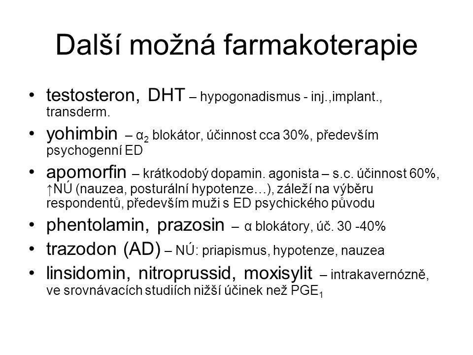Další možná farmakoterapie testosteron, DHT – hypogonadismus - inj.,implant., transderm.