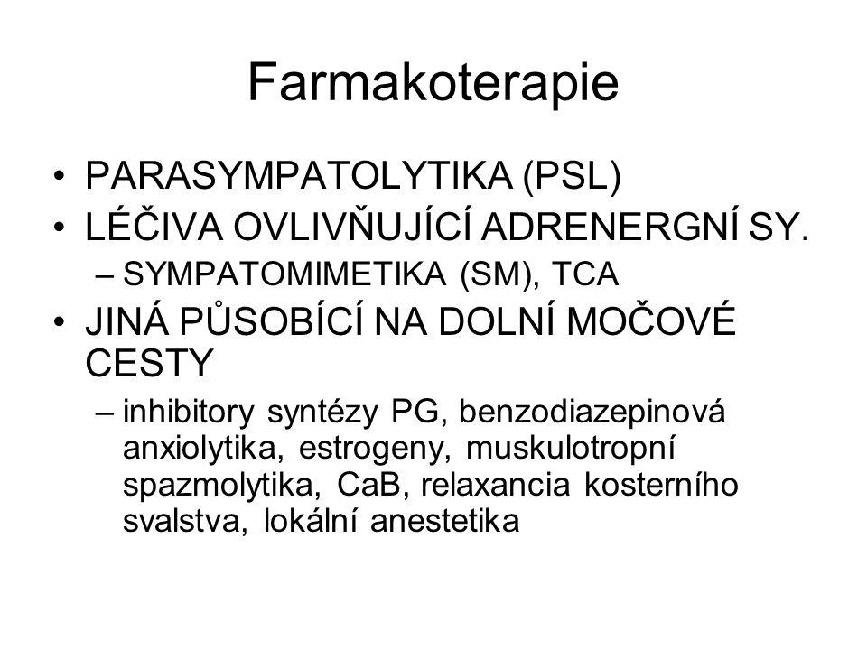 Farmakoterapie PARASYMPATOLYTIKA (PSL) LÉČIVA OVLIVŇUJÍCÍ ADRENERGNÍ SY.