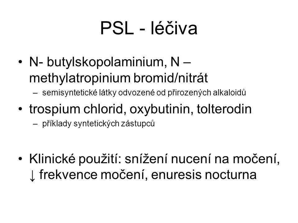 PSL - léčiva N- butylskopolaminium, N – methylatropinium bromid/nitrát –semisyntetické látky odvozené od přirozených alkaloidů trospium chlorid, oxybutinin, tolterodin –příklady syntetických zástupců Klinické použití: snížení nucení na močení, ↓ frekvence močení, enuresis nocturna