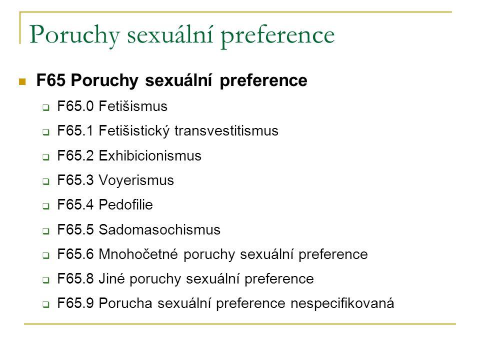 Poruchy sexuální preference F65 Poruchy sexuální preference  F65.0 Fetišismus  F65.1 Fetišistický transvestitismus  F65.2 Exhibicionismus  F65.3 V