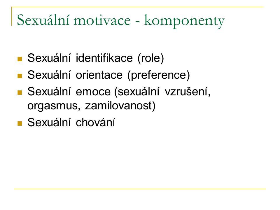 Sexuální motivace - komponenty Sexuální identifikace (role) Sexuální orientace (preference) Sexuální emoce (sexuální vzrušení, orgasmus, zamilovanost)