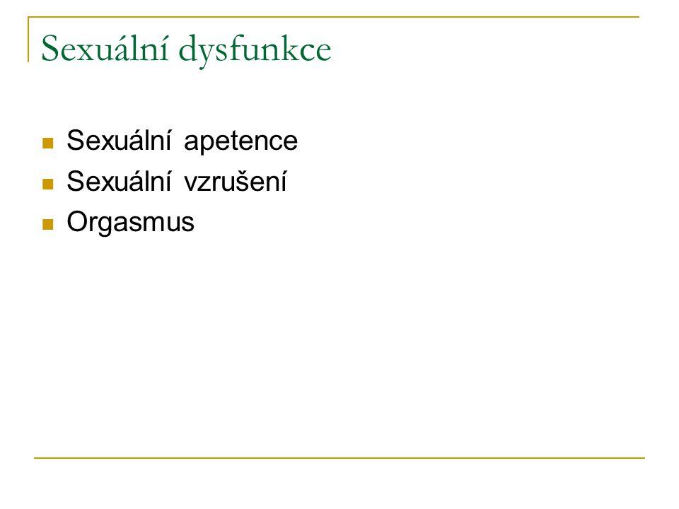 Sexuální dysfunkce Sexuální apetence Sexuální vzrušení Orgasmus