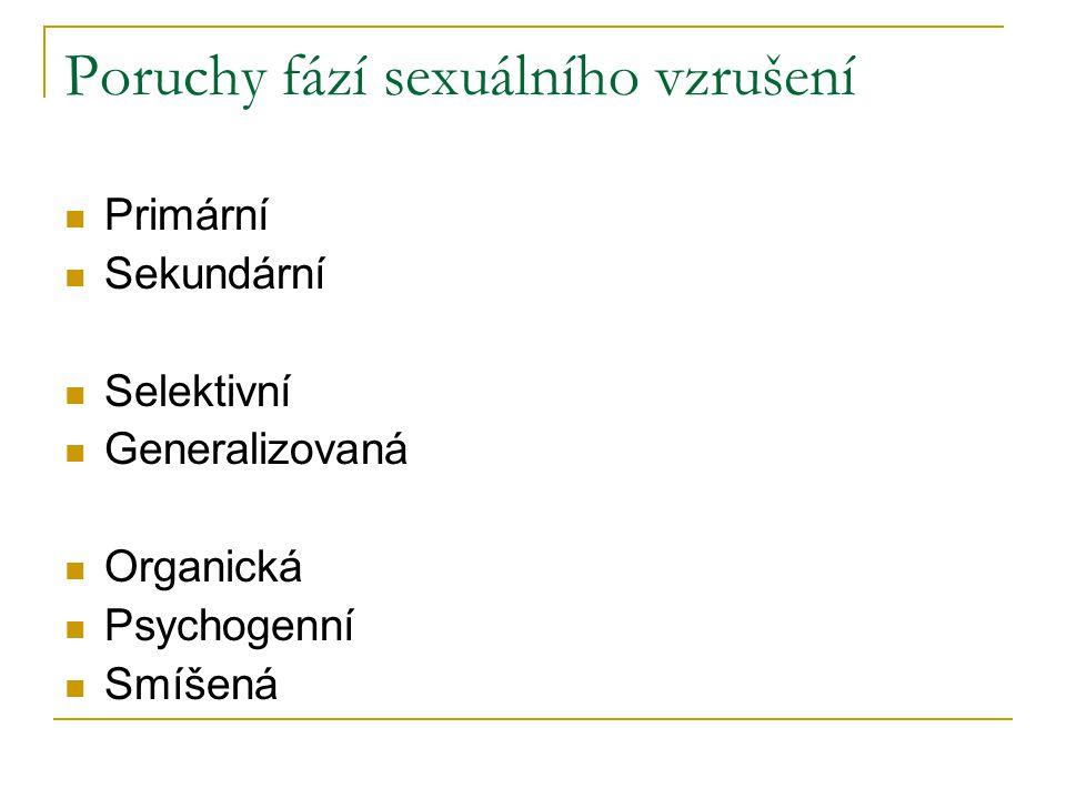 Poruchy fází sexuálního vzrušení Primární Sekundární Selektivní Generalizovaná Organická Psychogenní Smíšená