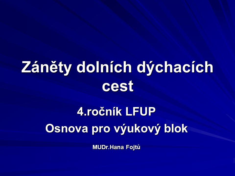 Záněty dolních dýchacích cest 4.ročník LFUP Osnova pro výukový blok MUDr.Hana Fojtů