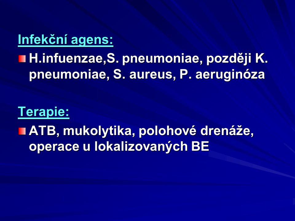 Infekční agens: H.infuenzae,S. pneumoniae, později K. pneumoniae, S. aureus, P. aeruginóza Terapie: ATB, mukolytika, polohové drenáže, operace u lokal