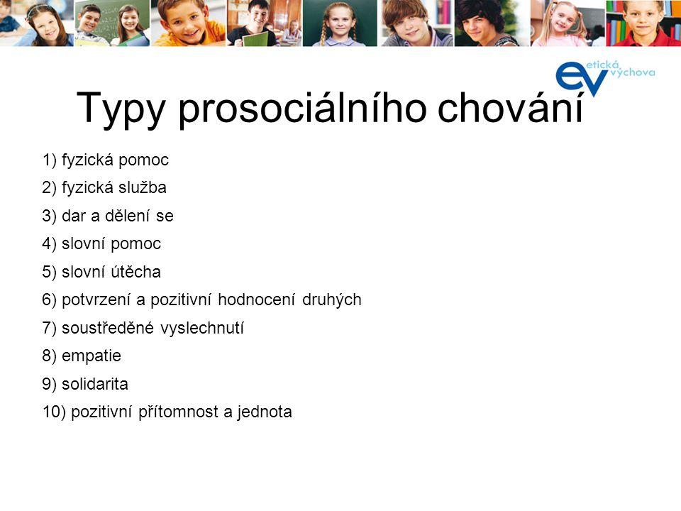 Typy prosociálního chování 1) fyzická pomoc 2) fyzická služba 3) dar a dělení se 4) slovní pomoc 5) slovní útěcha 6) potvrzení a pozitivní hodnocení d