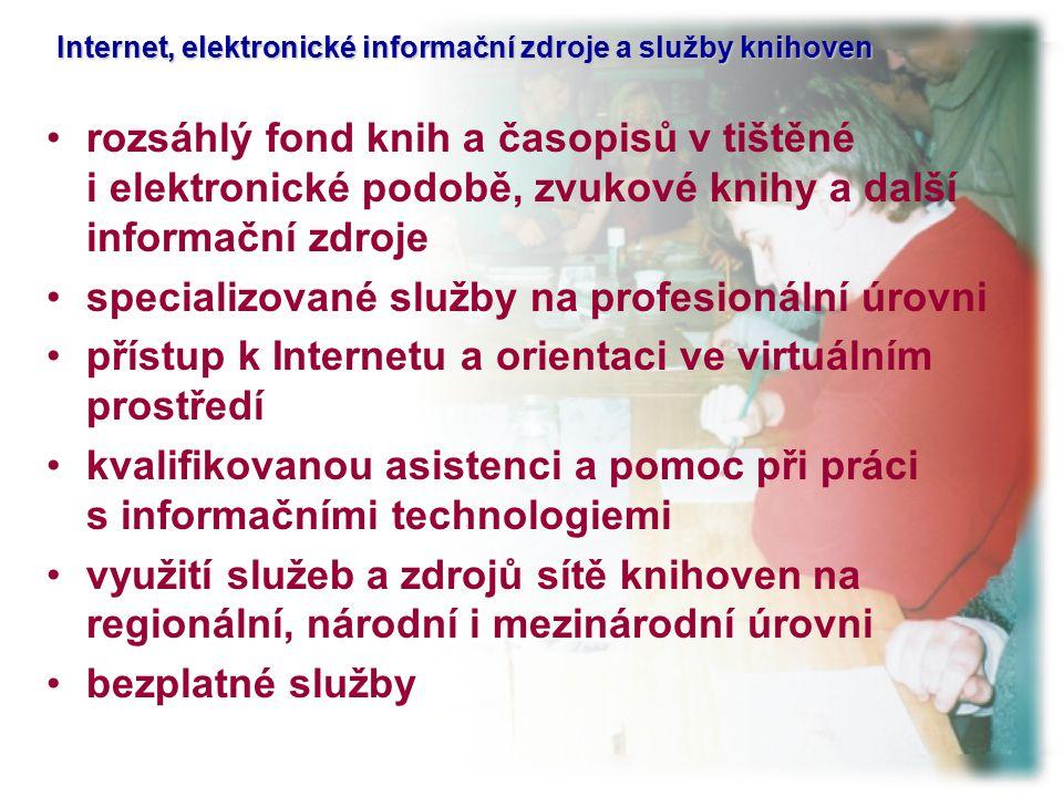 Internet, elektronické informační zdroje a služby knihoven Internet, elektronické informační zdroje a služby knihoven rozsáhlý fond knih a časopisů v tištěné i elektronické podobě, zvukové knihy a další informační zdroje specializované služby na profesionální úrovni přístup k Internetu a orientaci ve virtuálním prostředí kvalifikovanou asistenci a pomoc při práci s informačními technologiemi využití služeb a zdrojů sítě knihoven na regionální, národní i mezinárodní úrovni bezplatné služby
