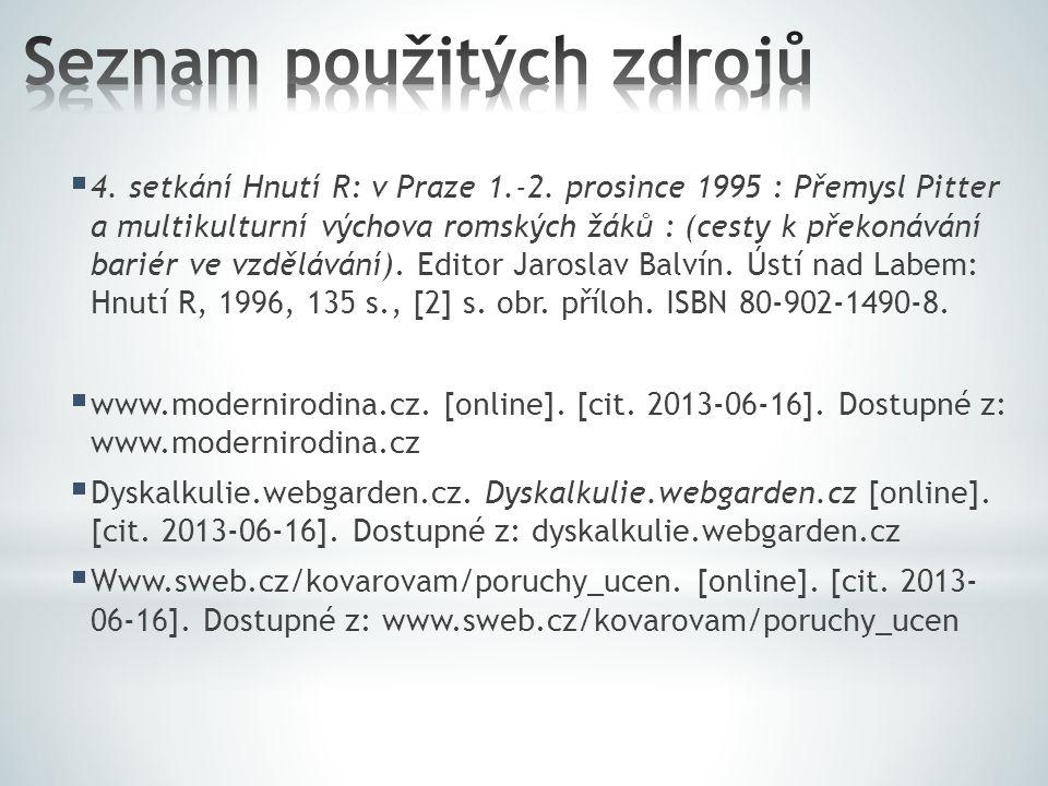  4. setkání Hnutí R: v Praze 1.-2. prosince 1995 : Přemysl Pitter a multikulturní výchova romských žáků : (cesty k překonávání bariér ve vzdělávání).