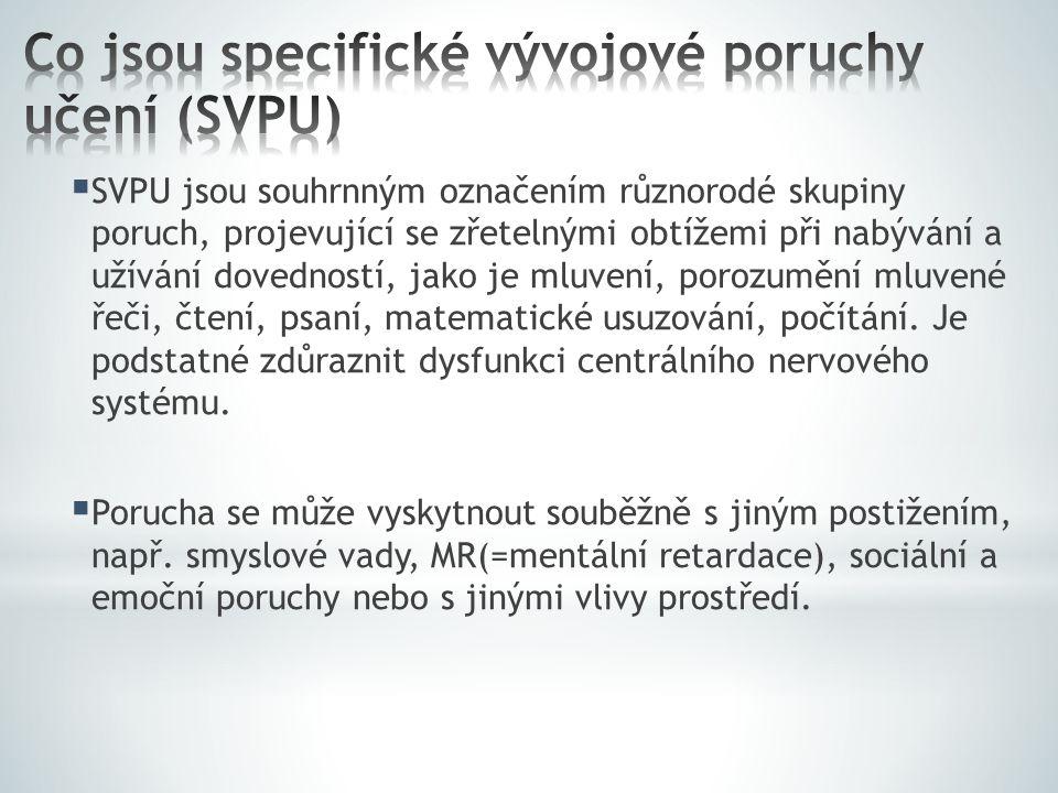  SVPU jsou souhrnným označením různorodé skupiny poruch, projevující se zřetelnými obtížemi při nabývání a užívání dovedností, jako je mluvení, poroz