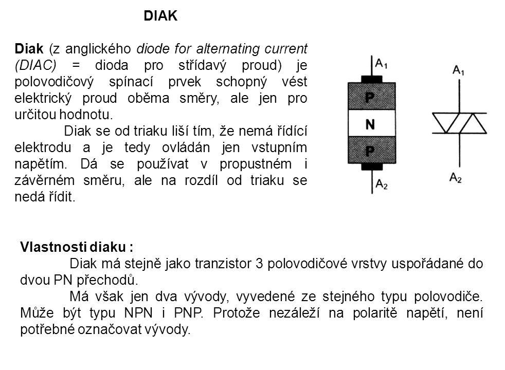 DIAK Diak (z anglického diode for alternating current (DIAC) = dioda pro střídavý proud) je polovodičový spínací prvek schopný vést elektrický proud o