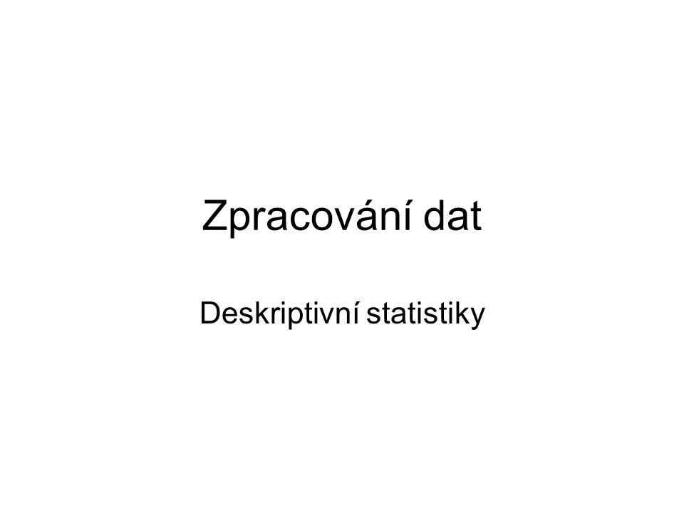 Zpracování dat Deskriptivní statistiky