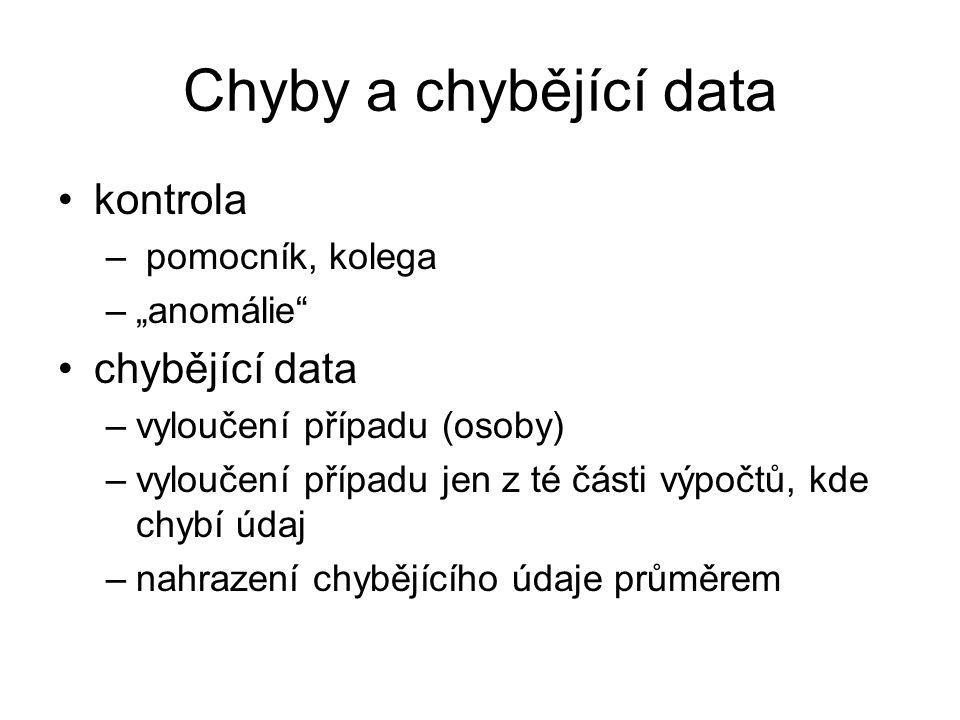 """Chyby a chybějící data kontrola – pomocník, kolega –""""anomálie"""" chybějící data –vyloučení případu (osoby) –vyloučení případu jen z té části výpočtů, kd"""