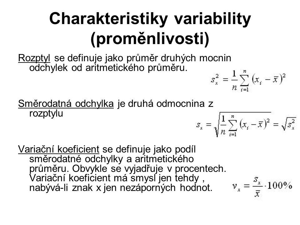 Charakteristiky variability (proměnlivosti) Rozptyl se definuje jako průměr druhých mocnin odchylek od aritmetického průměru. Směrodatná odchylka je d