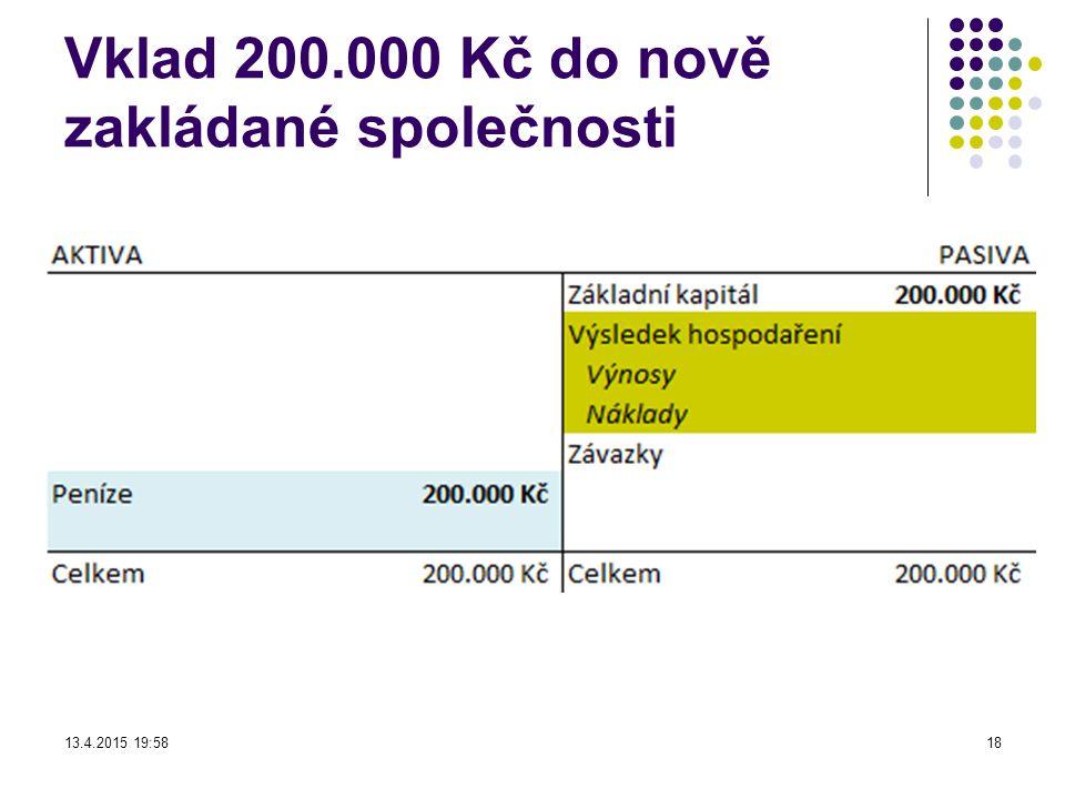 Vklad 200.000 Kč do nově zakládané společnosti 13.4.2015 19:5918
