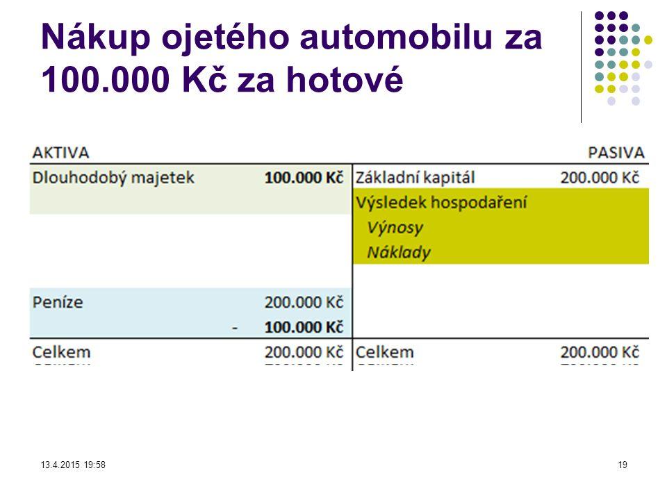 Nákup ojetého automobilu za 100.000 Kč za hotové 13.4.2015 19:5919