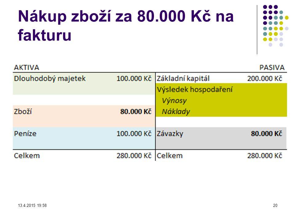 Nákup zboží za 80.000 Kč na fakturu 13.4.2015 19:5920