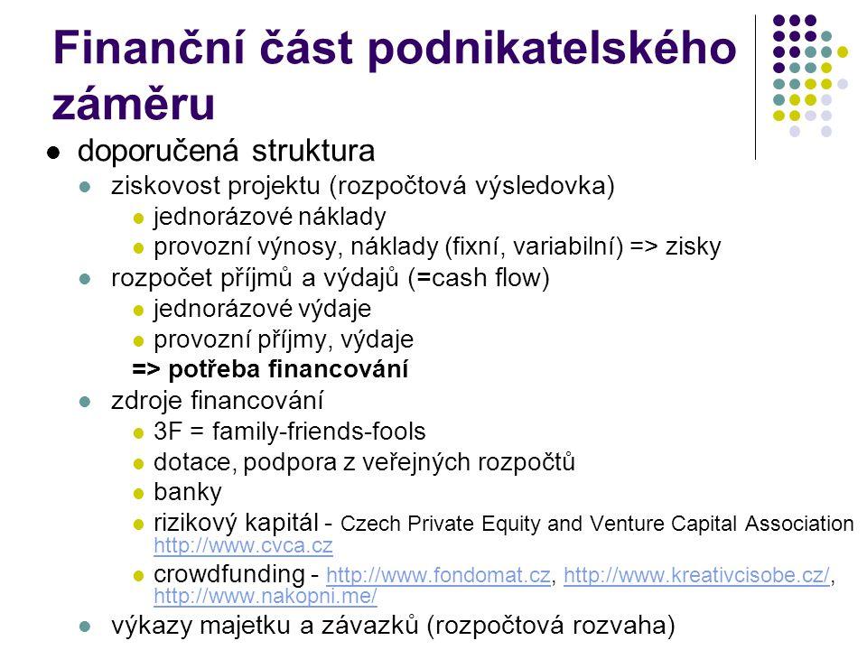 Finanční část podnikatelského záměru doporučená struktura ziskovost projektu (rozpočtová výsledovka) jednorázové náklady provozní výnosy, náklady (fixní, variabilní) => zisky rozpočet příjmů a výdajů (=cash flow) jednorázové výdaje provozní příjmy, výdaje => potřeba financování zdroje financování 3F = family-friends-fools dotace, podpora z veřejných rozpočtů banky rizikový kapitál - Czech Private Equity and Venture Capital Association http://www.cvca.cz http://www.cvca.cz crowdfunding - http://www.fondomat.cz, http://www.kreativcisobe.cz/, http://www.nakopni.me/ http://www.fondomat.czhttp://www.kreativcisobe.cz/ http://www.nakopni.me/ výkazy majetku a závazků (rozpočtová rozvaha)