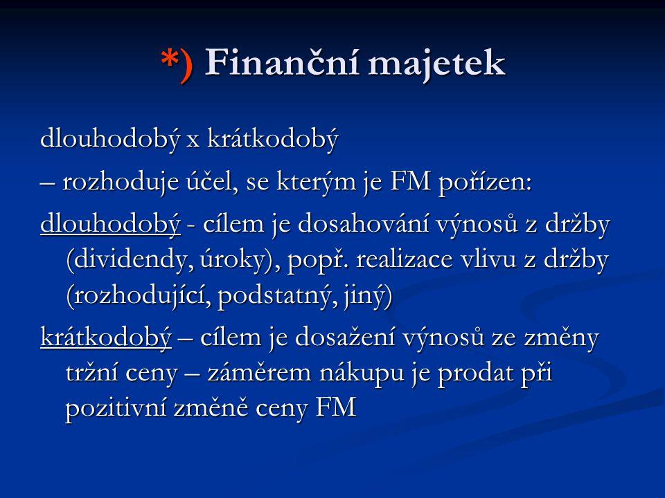 *) Finanční majetek dlouhodobý x krátkodobý – rozhoduje účel, se kterým je FM pořízen: dlouhodobý - cílem je dosahování výnosů z držby (dividendy, úroky), popř.