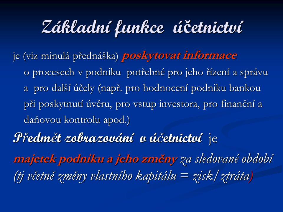 Formy sd ě lení ú č etních informací - výkazy Účetnictví poskytuje informace ve formě účetních výkazů : Bilance Bilance Výkaz zisku a ztráty (výsledovka) Výkaz zisku a ztráty (výsledovka) Výkaz cash-flow (o toku peněz) Výkaz cash-flow (o toku peněz) Výkaz o změnách ve vlastním kapitálu Výkaz o změnách ve vlastním kapitálu + příloha (komentář) k výkazům + příloha (komentář) k výkazům = ú č etní záv ě rka = ú č etní záv ě rka
