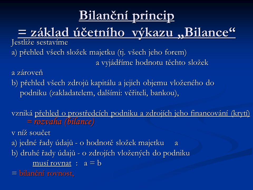 """Bilanční princip = základ účetního výkazu """"Bilance"""" Jestliže sestavíme a) přehled všech složek majetku (tj. všech jeho forem) a vyjádříme hodnotu těch"""
