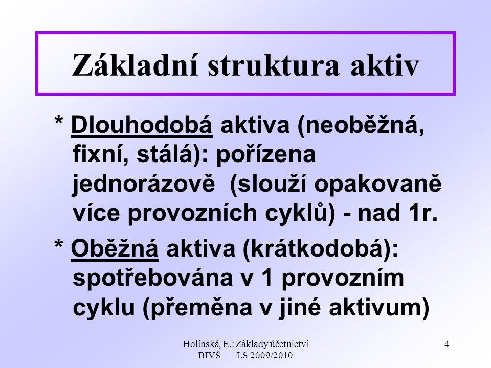 Holínská, E.: Základy účetnictví BIVŠ LS 2009/2010 4 Základní struktura aktiv * Dlouhodobá aktiva (neoběžná, fixní, stálá): pořízena jednorázově (slouží opakovaně více provozních cyklů) - nad 1r.