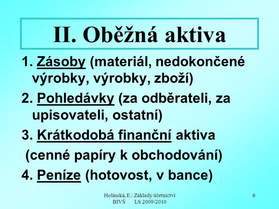 Holínská, E.: Základy účetnictví BIVŠ LS 2009/2010 6 II. Oběžná aktiva 1. Zásoby (materiál, nedokončené výrobky, výrobky, zboží) 2. Pohledávky (za odb
