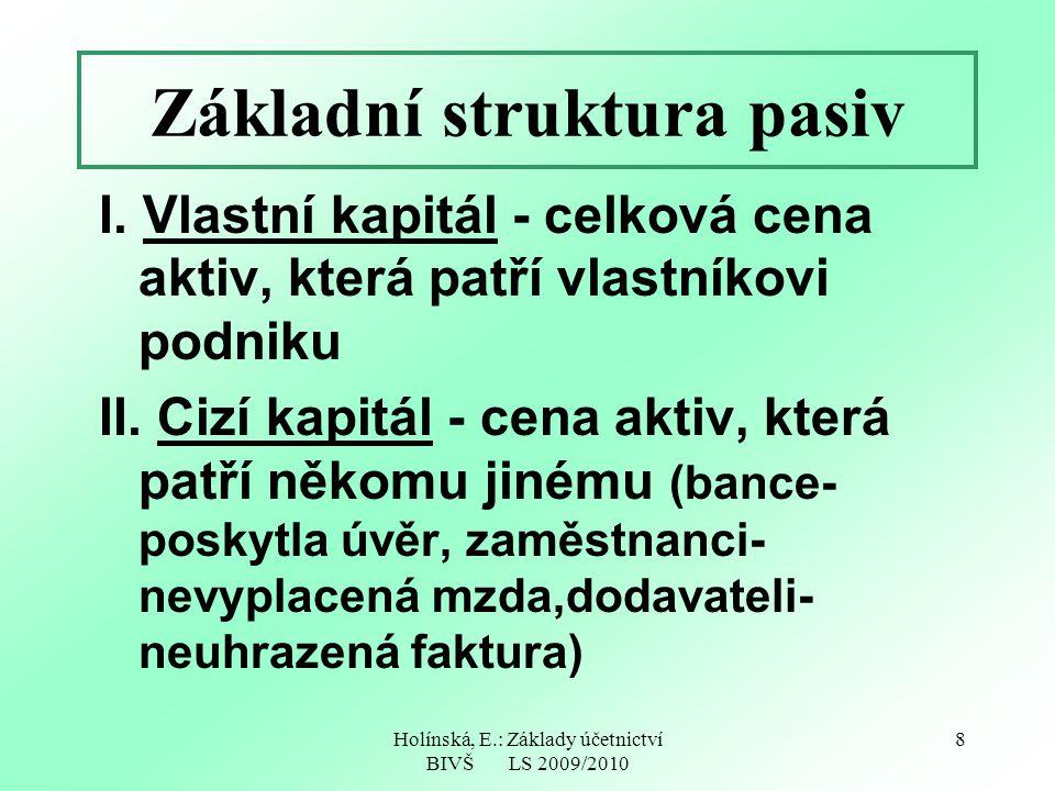 Holínská, E.: Základy účetnictví BIVŠ LS 2009/2010 8 Základní struktura pasiv I. Vlastní kapitál - celková cena aktiv, která patří vlastníkovi podniku