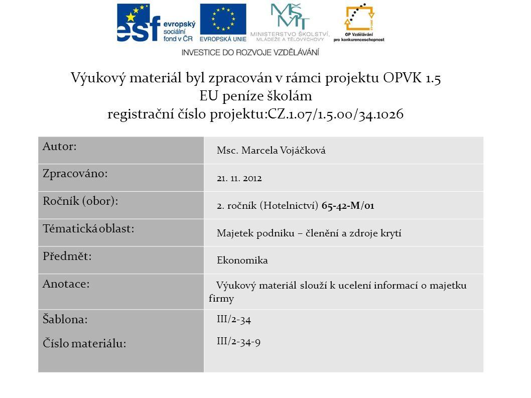 Výukový materiál byl zpracován v rámci projektu OPVK 1.5 EU peníze školám registrační číslo projektu:CZ.1.07/1.5.00/34.1026 Autor: Msc.
