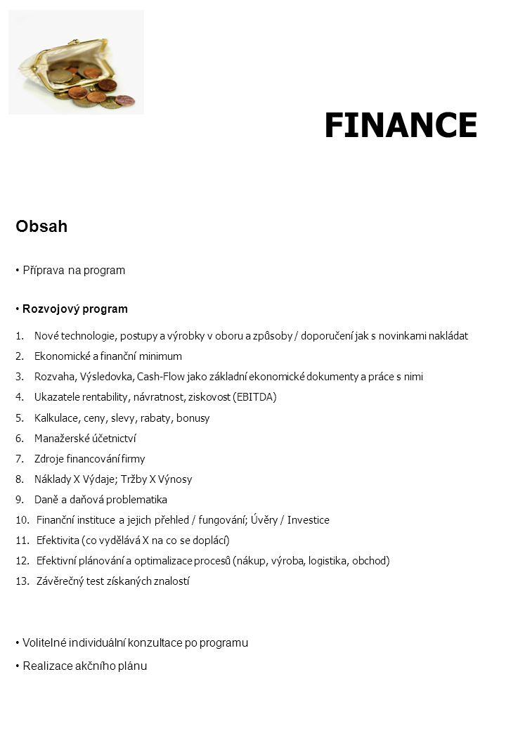 Obsah Příprava na program Rozvojový program 1. Nové technologie, postupy a výrobky v oboru a způsoby / doporučení jak s novinkami nakládat 2. Ekonomic