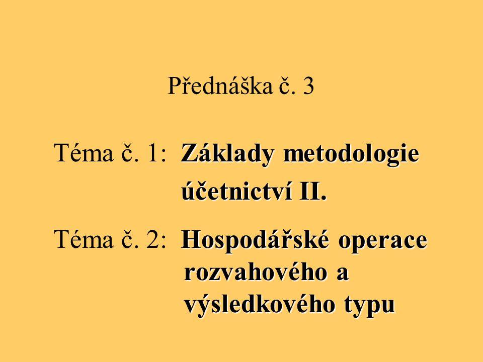 Přednáška č. 3 Základy metodologie Téma č. 1: Základy metodologie účetnictví II. účetnictví II. Hospodářské operace rozvahového a výsledkového typu Té