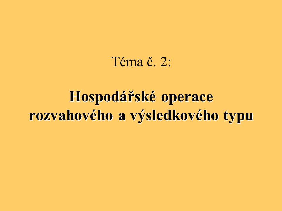 Hospodářské operace rozvahového a výsledkového typu Téma č. 2: Hospodářské operace rozvahového a výsledkového typu