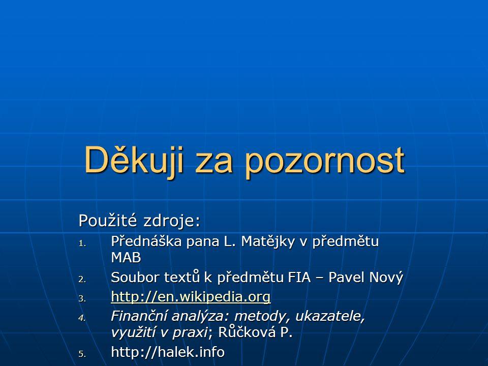 Použité zdroje: 1. Přednáška pana L. Matějky v předmětu MAB 2. Soubor textů k předmětu FIA – Pavel Nový 3. http://en.wikipedia.org http://en.wikipedia