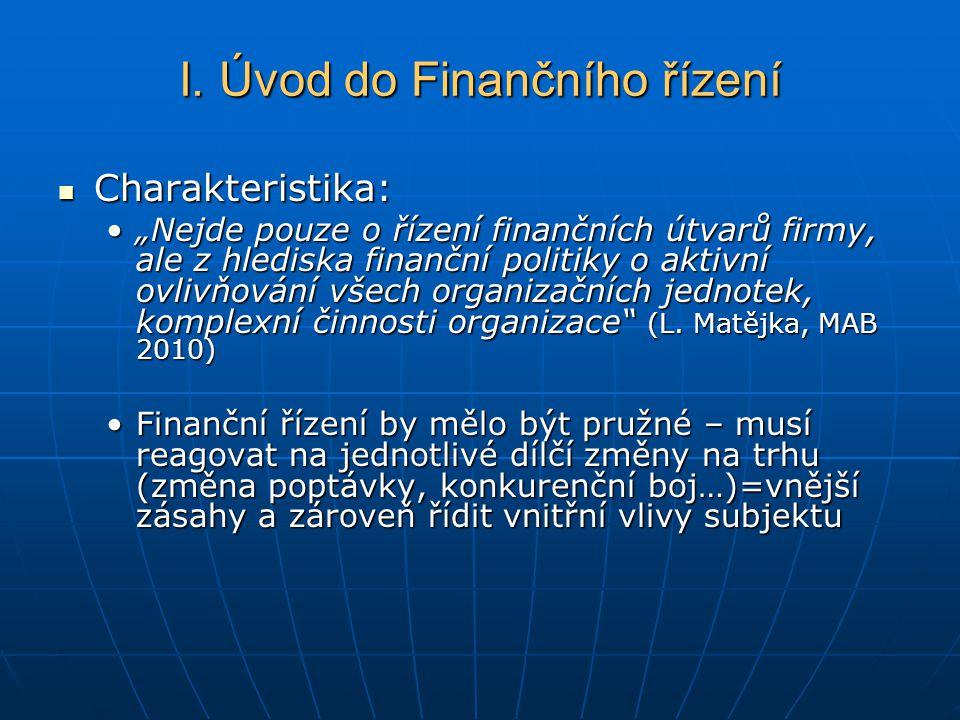 """I. Úvod do Finančního řízení Charakteristika: Charakteristika: """"Nejde pouze o řízení finančních útvarů firmy, ale z hlediska finanční politiky o aktiv"""