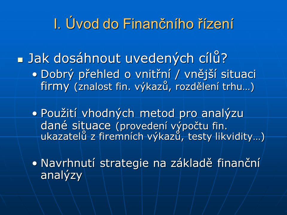 Jak dosáhnout uvedených cílů? Jak dosáhnout uvedených cílů? Dobrý přehled o vnitřní / vnější situaci firmy (znalost fin. výkazů, rozdělení trhu…)Dobrý