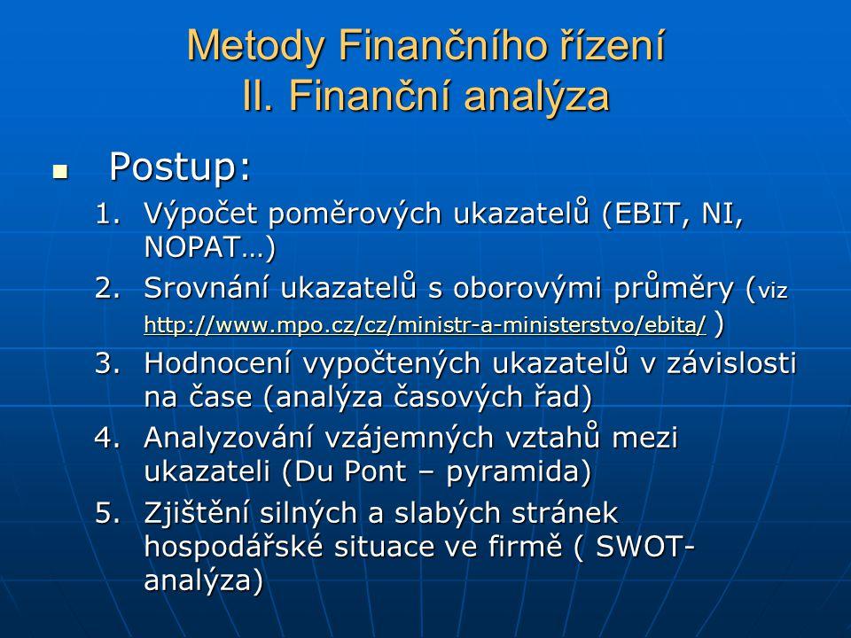 Postup: Postup: 1.Výpočet poměrových ukazatelů (EBIT, NI, NOPAT…) 2.Srovnání ukazatelů s oborovými průměry ( viz http://www.mpo.cz/cz/ministr-a-ministerstvo/ebita/ ) http://www.mpo.cz/cz/ministr-a-ministerstvo/ebita/ 3.Hodnocení vypočtených ukazatelů v závislosti na čase (analýza časových řad) 4.Analyzování vzájemných vztahů mezi ukazateli (Du Pont – pyramida) 5.Zjištění silných a slabých stránek hospodářské situace ve firmě ( SWOT- analýza) Metody Finančního řízení II.