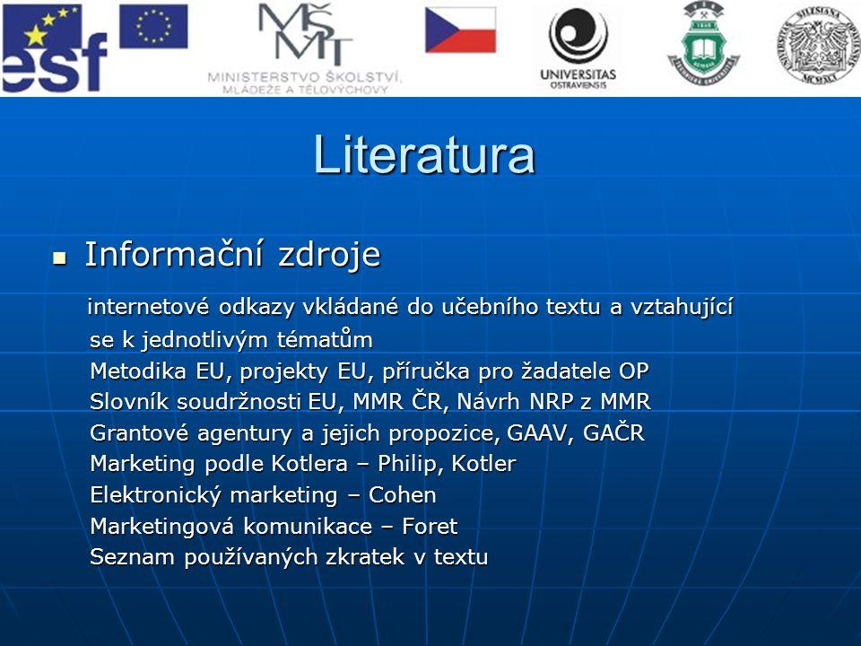 Literatura Informační zdroje Informační zdroje internetové odkazy vkládané do učebního textu a vztahující internetové odkazy vkládané do učebního text
