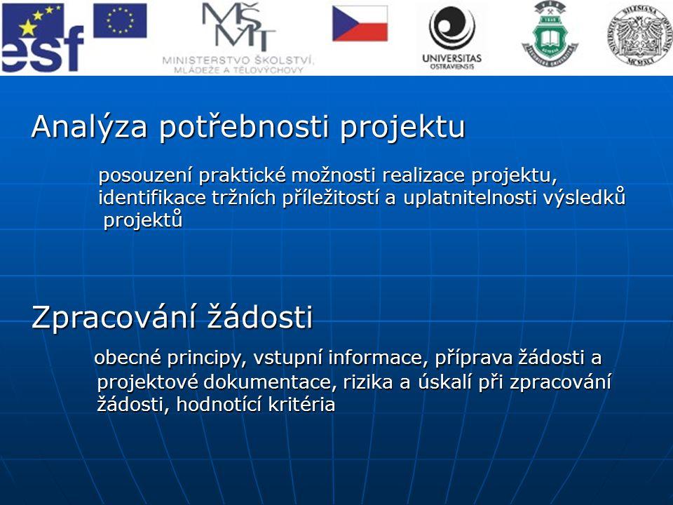 Analýza potřebnosti projektu posouzení praktické možnosti realizace projektu, identifikace tržních příležitostí a uplatnitelnosti výsledků projektů pr