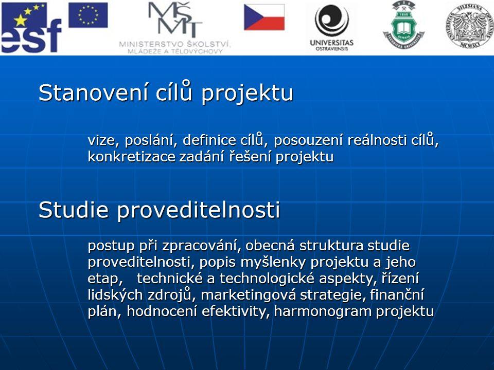 Stanovení cílů projektu vize, poslání, definice cílů, posouzení reálnosti cílů, konkretizace zadání řešení projektu Studie proveditelnosti postup při