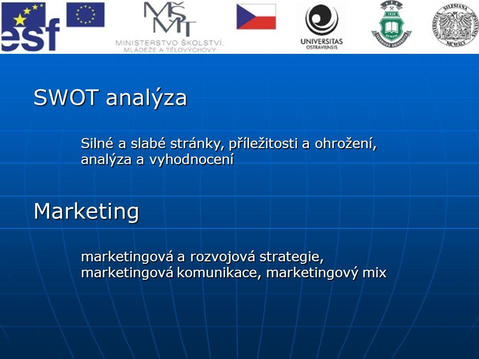 SWOT analýza Silné a slabé stránky, příležitosti a ohrožení, analýza a vyhodnocení Marketing marketingová a rozvojová strategie, marketingovákomunikac