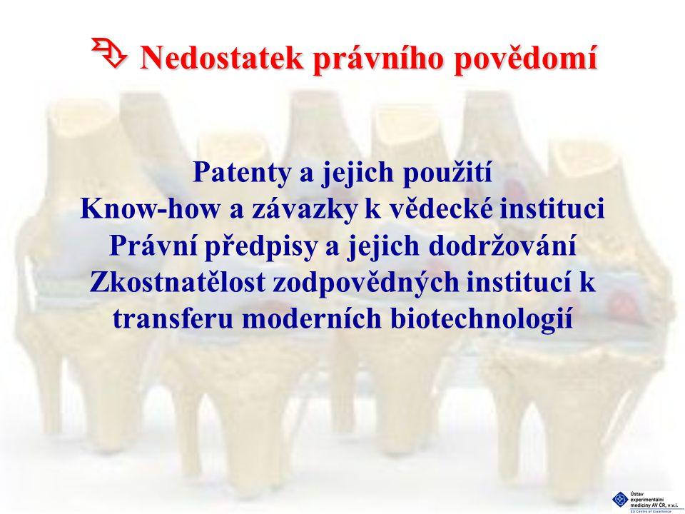  Nedostatek právního povědomí Patenty a jejich použití Know-how a závazky k vědecké instituci Právní předpisy a jejich dodržování Zkostnatělost zodpovědných institucí k transferu moderních biotechnologií