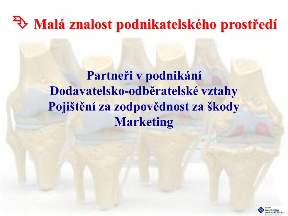  Malá znalost podnikatelského prostředí Partneři v podnikání Dodavatelsko-odběratelské vztahy Pojištění za zodpovědnost za škody Marketing