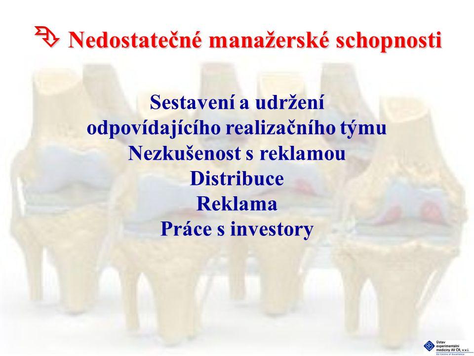  Nedostatečné manažerské schopnosti Sestavení a udržení odpovídajícího realizačního týmu Nezkušenost s reklamou Distribuce Reklama Práce s investory