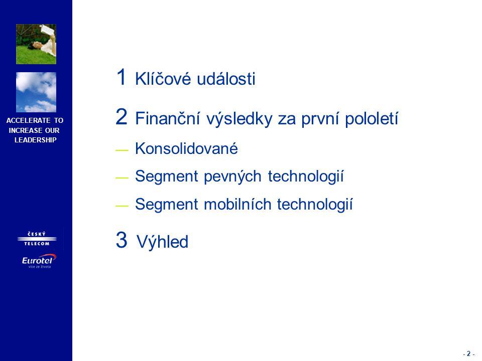 ACCELERATE TO INCREASE OUR LEADERSHIP - 2 - 1 Klíčové události 2 Finanční výsledky za první pololetí — Konsolidované — Segment pevných technologií — Segment mobilních technologií 3 Výhled