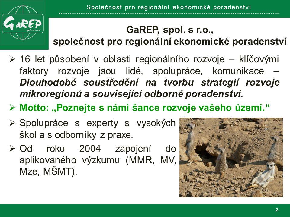 Společnost pro regionální ekonomické poradenství VÝCHODISKA  Mikroregion, tj.