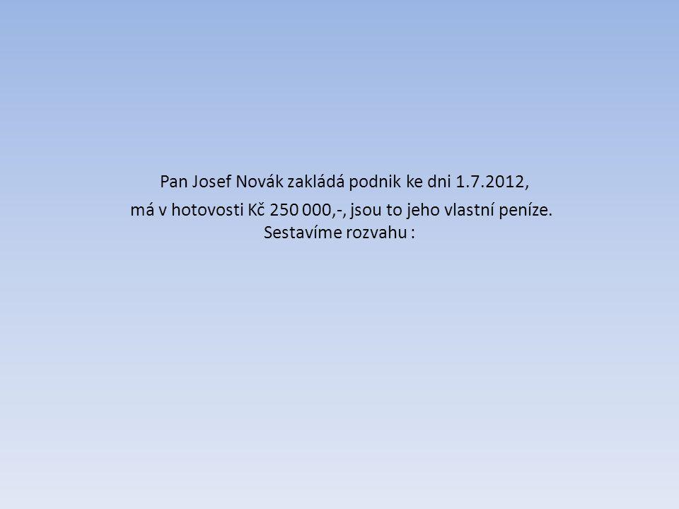 Pan Josef Novák zakládá podnik ke dni 1.7.2012, má v hotovosti Kč 250 000,-, jsou to jeho vlastní peníze.