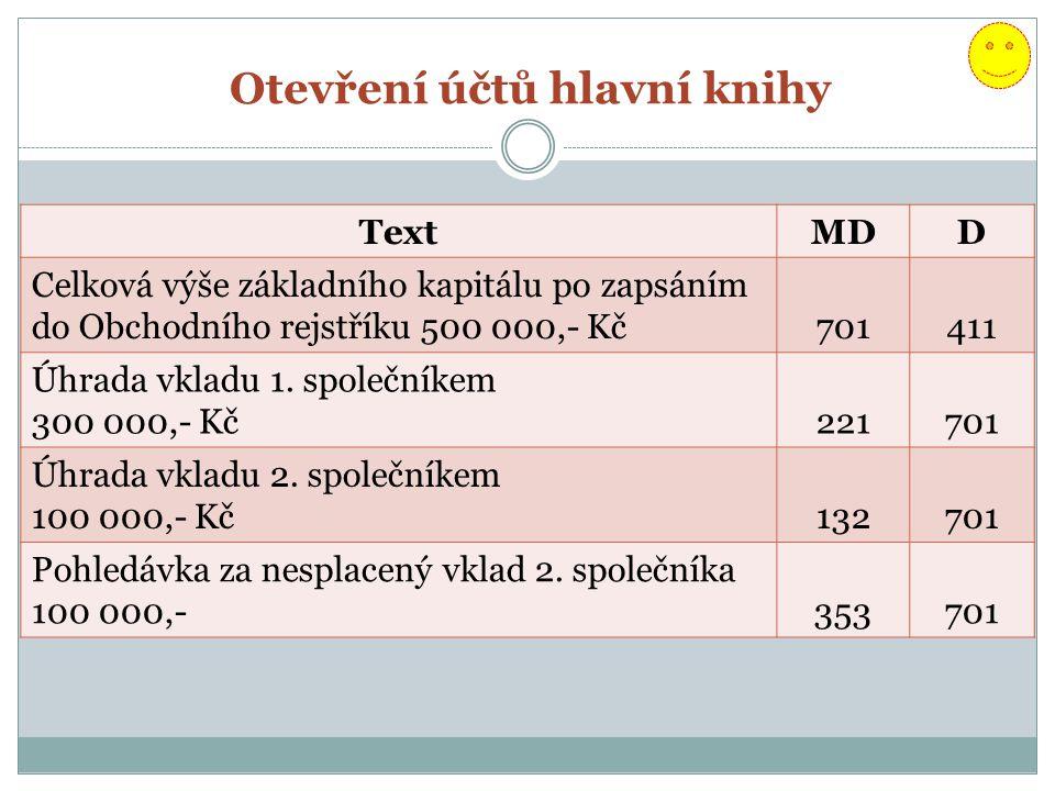 Otevření účtů hlavní knihy TextMDD Celková výše základního kapitálu po zapsáním do Obchodního rejstříku 500 000,- Kč701411 Úhrada vkladu 1.