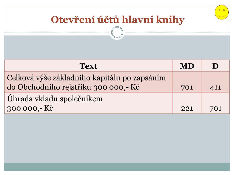 Otevření účtů hlavní knihy TextMDD Celková výše základního kapitálu po zapsáním do Obchodního rejstříku 300 000,- Kč701411 Úhrada vkladu společníkem 300 000,- Kč221701