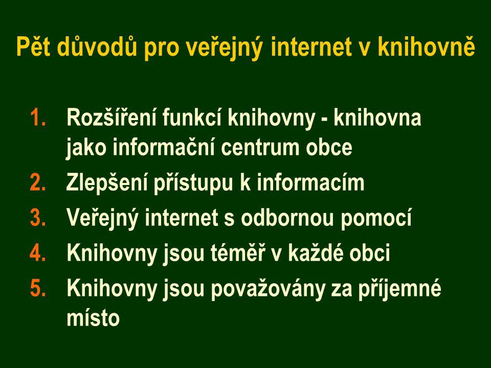Pět důvodů pro veřejný internet v knihovně 1.Rozšíření funkcí knihovny - knihovna jako informační centrum obce 2.Zlepšení přístupu k informacím 3.Veřejný internet s odbornou pomocí 4.Knihovny jsou téměř v každé obci 5.Knihovny jsou považovány za příjemné místo